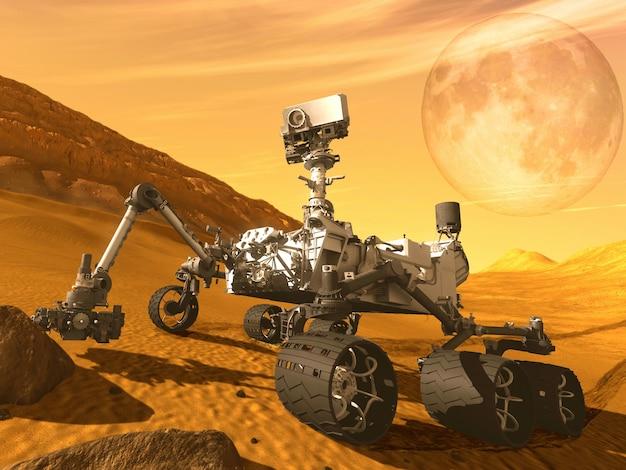 Perseverance mars rovers ha atterrato l'illustrazione 3d.