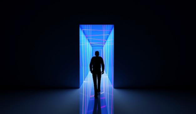 La persona va al tunnel al neon colorato illuminato