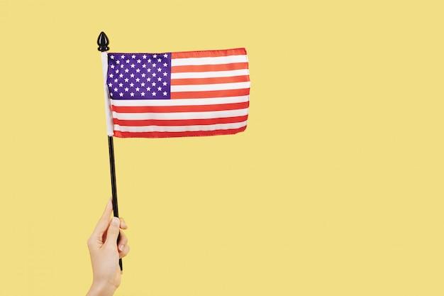 Persona che sventola la bandiera degli stati uniti