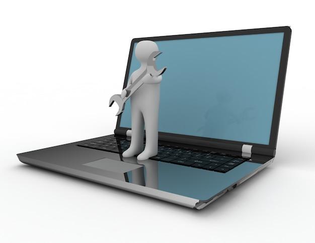 Persona con laptop e chiave inglese. 3d reso illustrazione