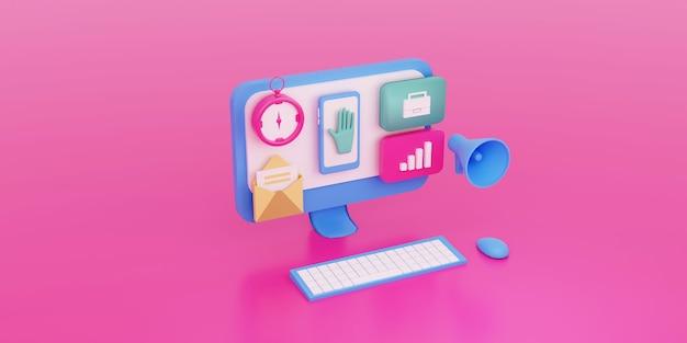 App per personal computer, strumenti per il concetto di campagna di marketing online 3d reso con megafono, e-mail, bussola, analista di dati