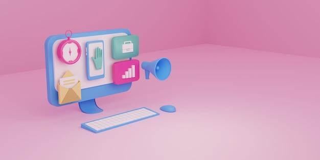Personal computer per l'analisi dei dati della campagna aziendale 3d rendering