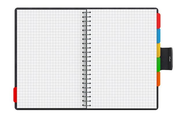 Diario personale o libro dell'organizzatore con pagine vuote su sfondo bianco. rendering 3d