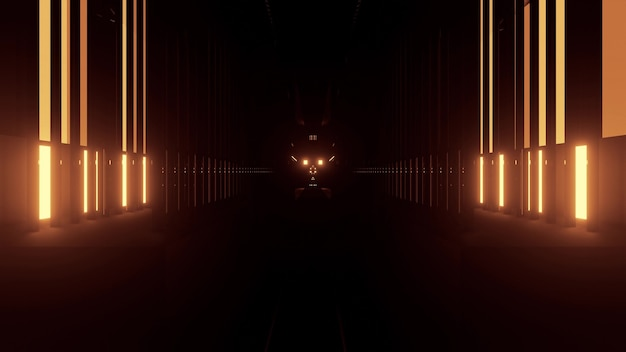 Illustrazione 3d astratta di prospettiva degli elementi gialli illuminati che formano il corridoio geometrico su fondo nero