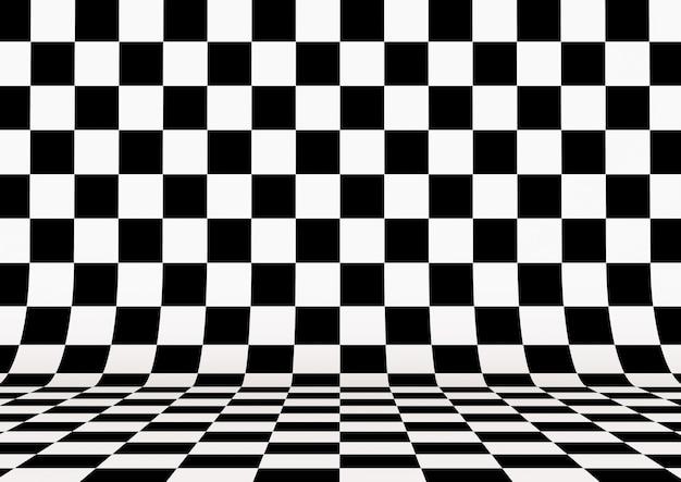 Prospettiva quadrata a scacchi sfondo. illustrazione 3d.