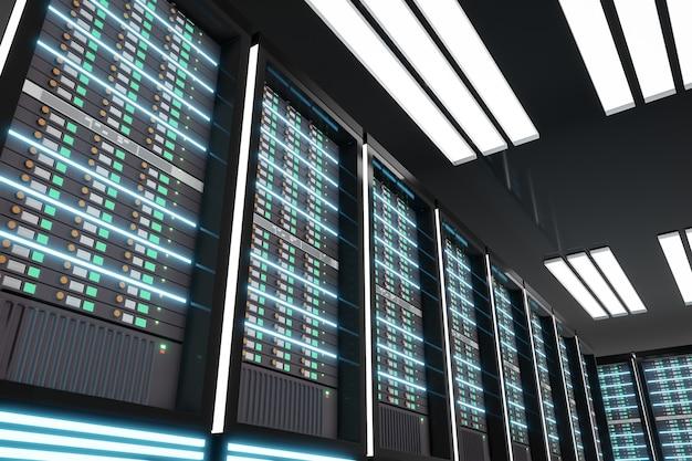 Prospettiva della sala computer server scuro con bagliore di luce. rendering di rappresentazioni 3d. immagine dell'angolo rialzato. Foto Premium
