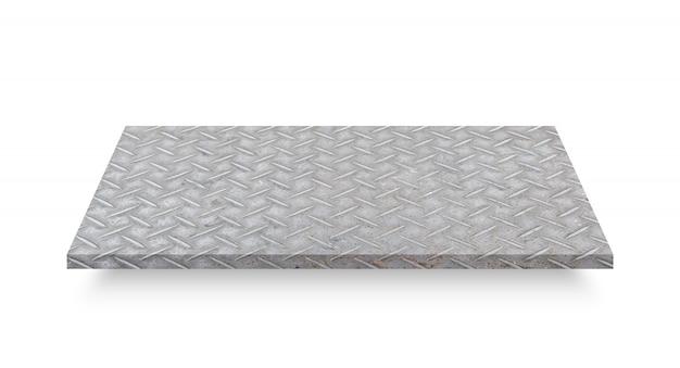 Prospettiva del piatto d'acciaio del diamante isolato su fondo bianco. oggetto con tracciato di ritaglio