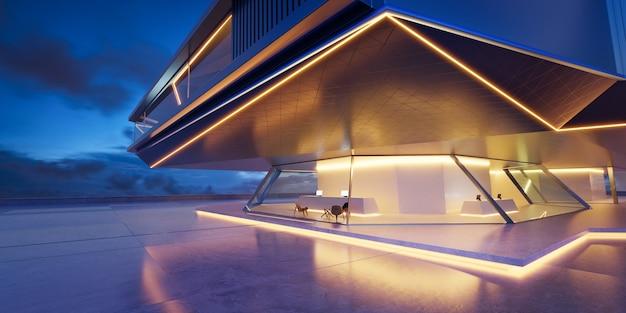 Vista prospettica del pavimento di cemento vuoto con esterno di un edificio moderno in acciaio e vetro scena notturna