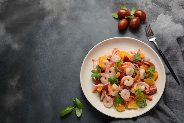 Gambero peruviano, ceviche di gamberi, marinato con arance e lime