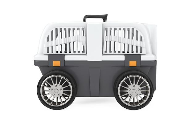 Pet travel gabbia di plastica carrier box su ruote di auto su uno sfondo bianco. rendering 3d