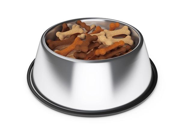 Ciotola per animali domestici con ossa di cibo per cani su sfondo bianco. rendering 3d