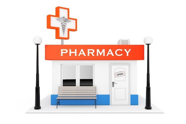 Farmacia farmacia negozio edificio su uno sfondo bianco. rendering 3d