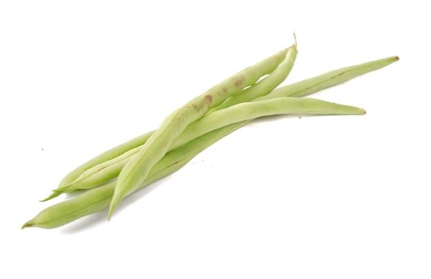 Phaseolus vulgaris o fagiolo comune su sfondo bianco.