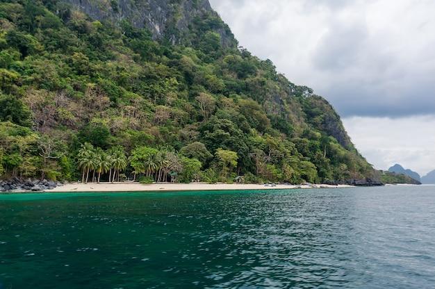 Isola filippina con palme verdi, spiagge bianche e limpide acque turchesi