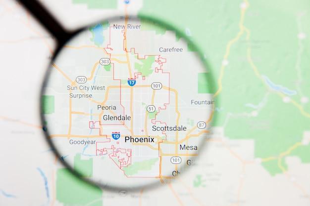 Phoenix, concetto illustrativo di visualizzazione della città degli stati uniti sullo schermo tramite la lente d'ingrandimento