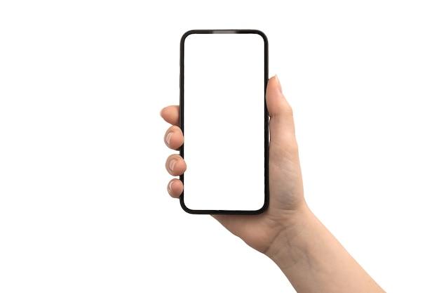 Telefono in mano con schermo bianco, isolato su una foto di sfondo bianco