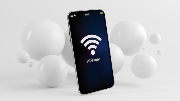 Telefono su sfondo minimo con zona wifi sullo schermo rendering 3d