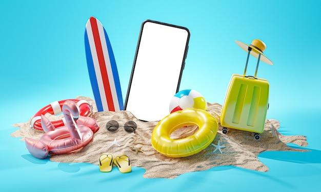 Telefono mockup vacanze estive sfondo concetto accessori da spiaggia rendering 3d