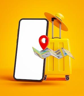 Telefono mockup giallo bagagli, mappa pin e cappello concetto di viaggio sfondo 3d rendering