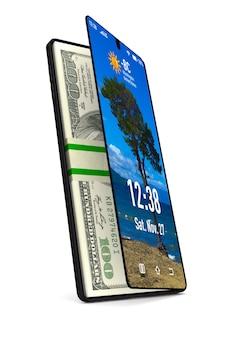 Telefono e soldi. rendering 3d isolato