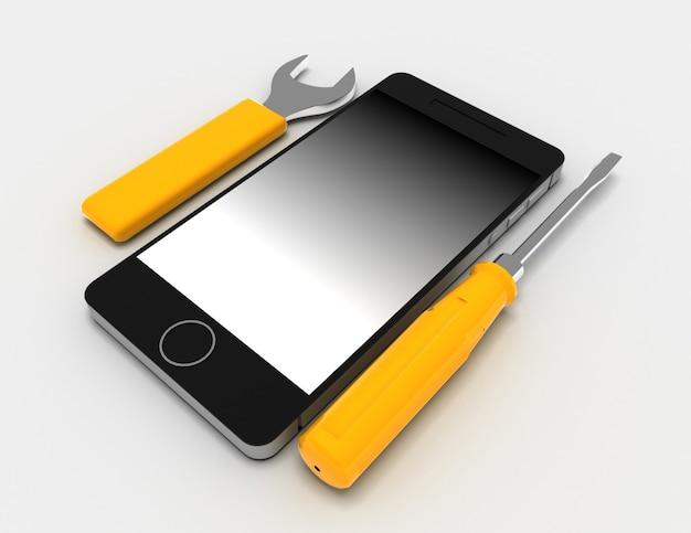 Riparazione del telefono su sfondo bianco. 3d rendering illustrazione