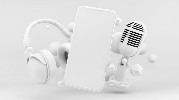 Schermo del telefono per il concetto di podcast nel rendering 3d