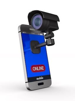 Telefono e telecamera di sicurezza. rendering 3d isolato