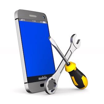 Servizio telefonico su sfondo bianco. illustrazione 3d isolata