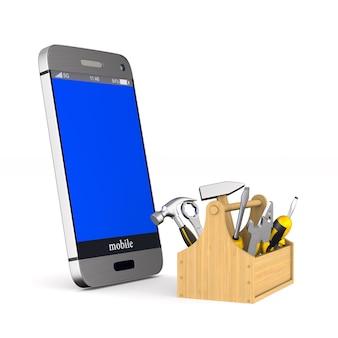 Servizio telefonico su bianco. illustrazione 3d isolata