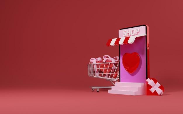 Il telefono e il carrello del negozio pieno di regali e amore modellano san valentino vendono design concept - 3d rendering
