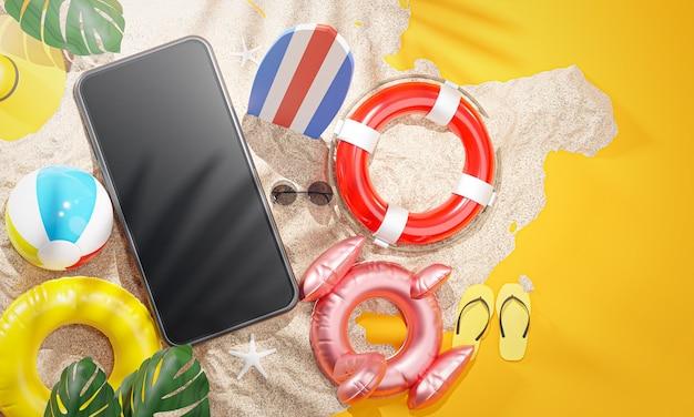 Telefono tra accessori da spiaggia estiva sfondo giallo rendering 3d