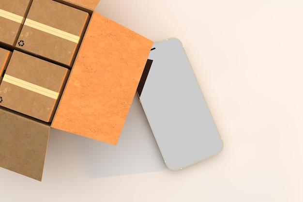 Telefono con scatola di cartone