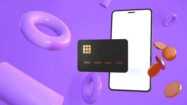 Telefono con carta di credito e monete e forme astratte in toni viola 3d rendering