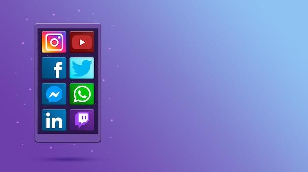 Telefono con icone social media 3d