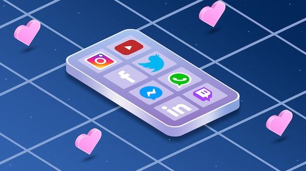 Telefono con icone dei social media sullo schermo e cuori intorno a 3d
