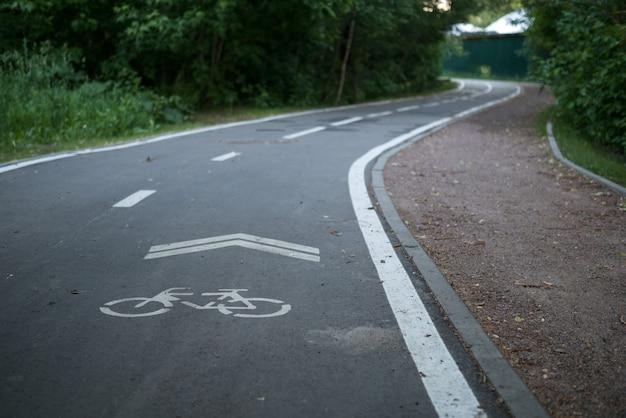 Foto della pista ciclabile tra gli alberi il giorno d'estate