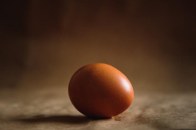 Foto di un uovo di gallina marrone su sfondo marrone.
