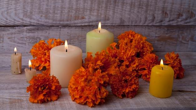 Foto per el día de muertos e halloween con attributi tradizionali