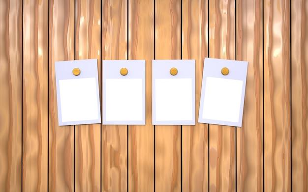 Cornici per foto appese su uno sfondo di legno
