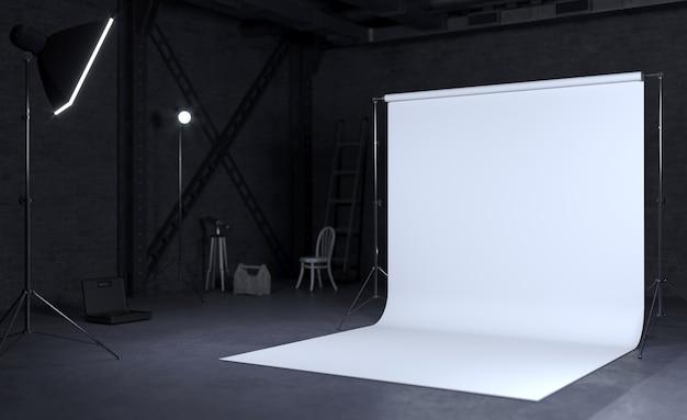 Camera studio fotografico con sfondo bianco, edilizia industriale