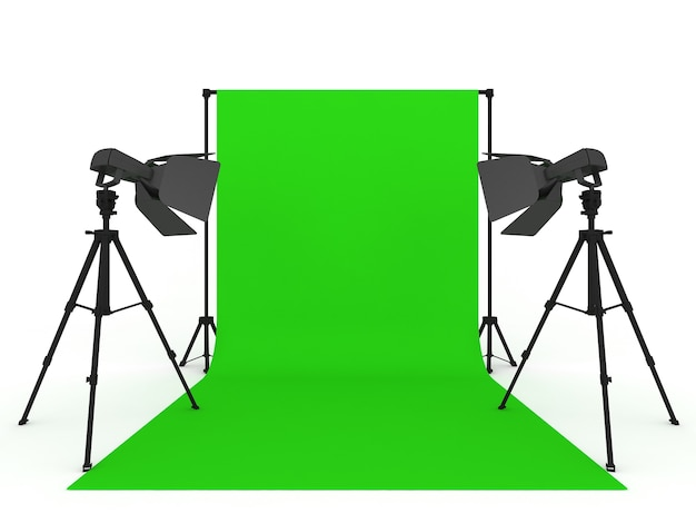 Studio fotografico con schermo verde e attrezzatura leggera isolata