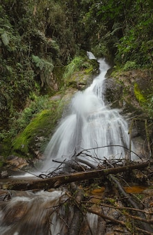 Fotografia di una lunga esposizione a una cascata e detriti spazzati via dall'acqua