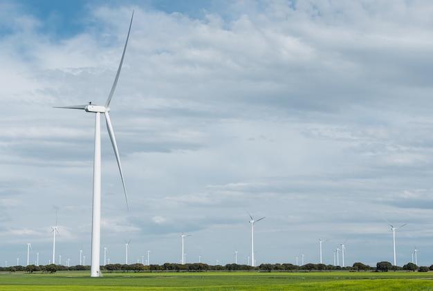 Fotografia di un generatore eolico con copia spazio su un campo verde