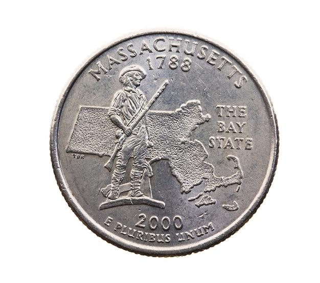 Primo piano fotografato sul dollaro americano della moneta bianca venticinque centesimi, massachusetts