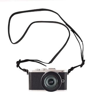 Fotocamera con sistema mirrorless fotografico con cinturino attrezzatura fotografica e accessorio in stile vintage