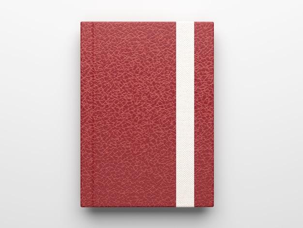 Mockup di quaderno diario in pelle marrone fotorealistico isolato su superficie grigio chiaro, rendering 3d