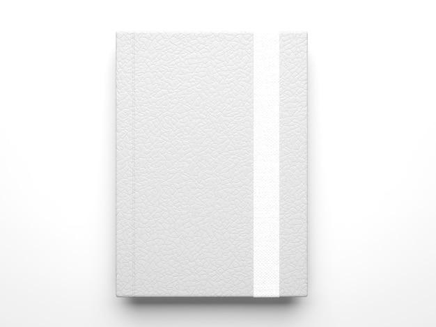 Mockup di quaderno diario in pelle bianca fotorealistica isolato su superficie grigio chiaro, rendering 3d