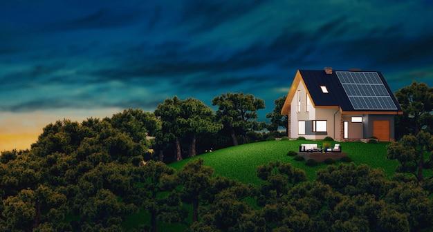 Pannelli solari fotovoltaici su casa moderna di nuova costruzione, illustrazione rendering 3d 3