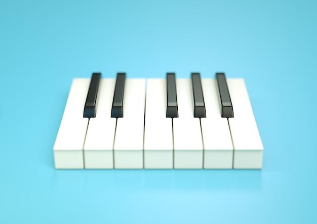 Tastiera del pianoforte. illustrazione 3d su sfondo blu con messa a fuoco selettiva
