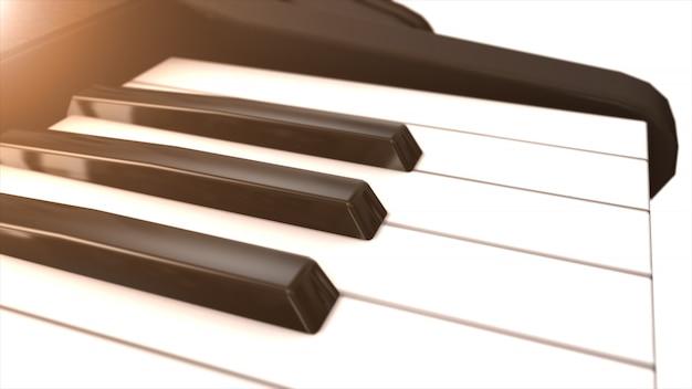 Tastiera di pianoforte in bianco e nero